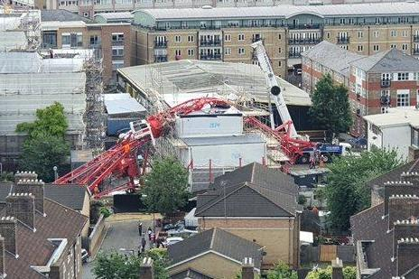 A crane has collapsed onto a terraced house in Bow, east London: Nathaniel Kelly