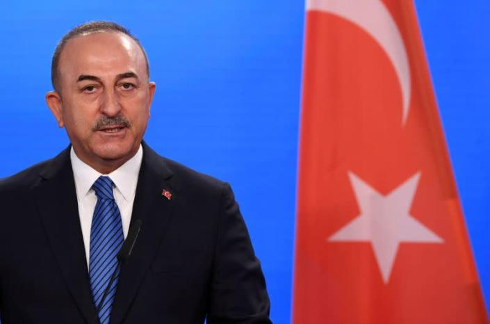 FILE PHOTO: Turkish Foreign Minister Mevlut Cavusoglu gives a statement to the media after a meeting with his German counterpart in Berlin, Germany