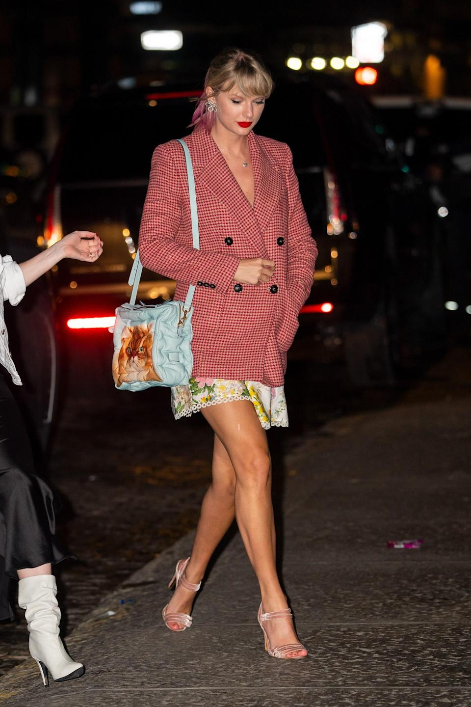 Later that evening she changed into a Mango blazer and Zimmermann dress.
