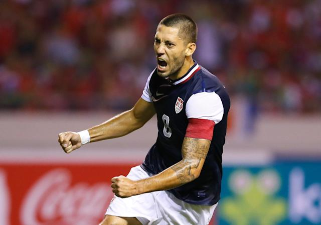 SAN JOSE, COSTA RICA - SEPTEMBER 06: Clint Dempsey #8 of the United States reacts after scoring off a penalty kick against Costa Rica during the FIFA 2014 World Cup Qualifier at Estadio Nacional on September 6, 2013 in San Jose, Costa Rica. (Photo by Kevin C. Cox/Getty Images)