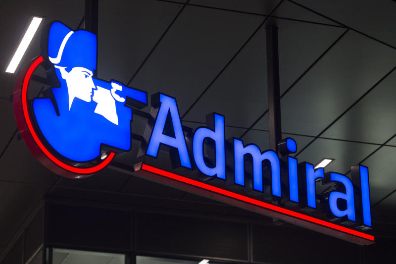 CARDIFF, UNITED KINGDOM - SEPTEMBER 24: Admiral insurance company sign seen on on September 24, 2015 in Cardiff, United Kingdom. (Photo by Matthew Horwood/Getty Images)