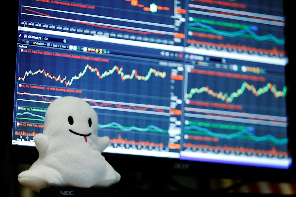 A stuffed ghost rests on a trader's screen above the floor of the New York Stock Exchange. REUTERS/Lucas Jackson