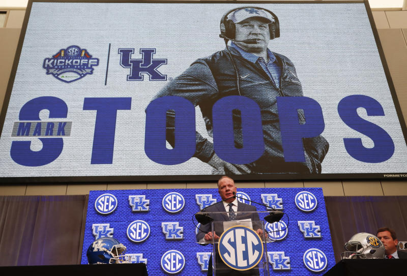Kentucky head coach Mark Stoops speaks during NCAA college football Southeastern Conference media days at the College Football Hall of Fame in Atlanta, Monday, July 16, 2018. (AP Photo/John Bazemore)