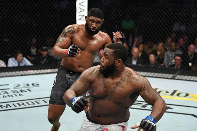Curtis Blaydes (L) says that two things make him a fearsome takedown threat in the UFC cage. (Getty Images)