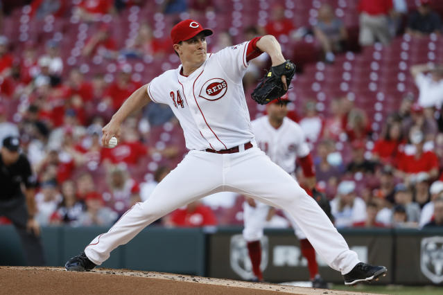 Cincinnati Reds starting pitcher Homer Bailey throws during the first inning of the team's baseball game against the Pittsburgh Pirates, Wednesday, May 23, 2018, in Cincinnati. (AP Photo/John Minchillo)