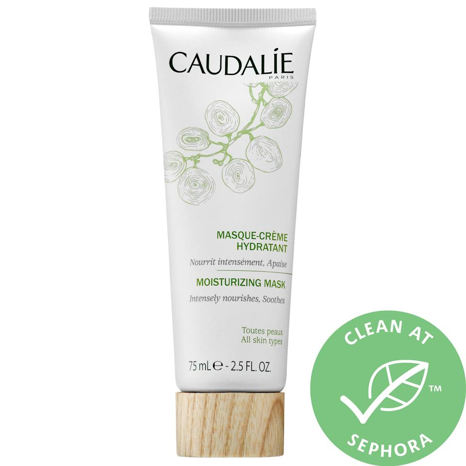 """<p>We love that this <a href=""""https://www.popsugar.com/buy/Caudalie-Moisturizing-Mask-475963?p_name=Caudalie%20Moisturizing%20Mask&retailer=sephora.com&pid=475963&price=39&evar1=bella%3Aus&evar9=46459197&evar98=https%3A%2F%2Fwww.popsugar.com%2Fphoto-gallery%2F46459197%2Fimage%2F46459209%2FCaudalie-Moisturizing-Mask&list1=shopping%2Csephora%2Cface%20mask%2Cbeauty%20shopping%2Cskin%20care&prop13=api&pdata=1"""" rel=""""nofollow"""" data-shoppable-link=""""1"""" target=""""_blank"""" class=""""ga-track"""" data-ga-category=""""Related"""" data-ga-label=""""https://www.sephora.com/product/moisturizing-mask-P395617?icid2=products%20grid:p395617:product"""" data-ga-action=""""In-Line Links"""">Caudalie Moisturizing Mask</a> ($39) is certified clean, and it works for both dry and combination skin types.</p>"""