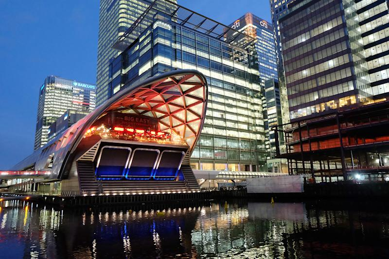 A view of the roof structure designed by architect Norman Foster that sits above Canary Wharf Crossrail station, in the North Dock of the Canary Wharf financial district on the Isle of Dogs, December 22, 2019 in London, England. (Photo by Jim Dyson/Getty Images)
