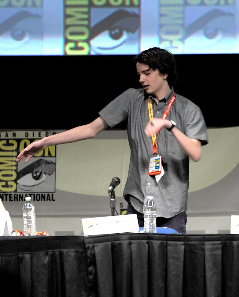 "SAN DIEGO, CA - JULY 13:  Actor Kodi Smit-McPhee speaks at the ""Paranorman: Behind The Scenes"" panel during Comic-Con International 2012 at San Diego Convention Center on July 13, 2012 in San Diego, California.  (Photo by Kevin Winter/Getty Images)"