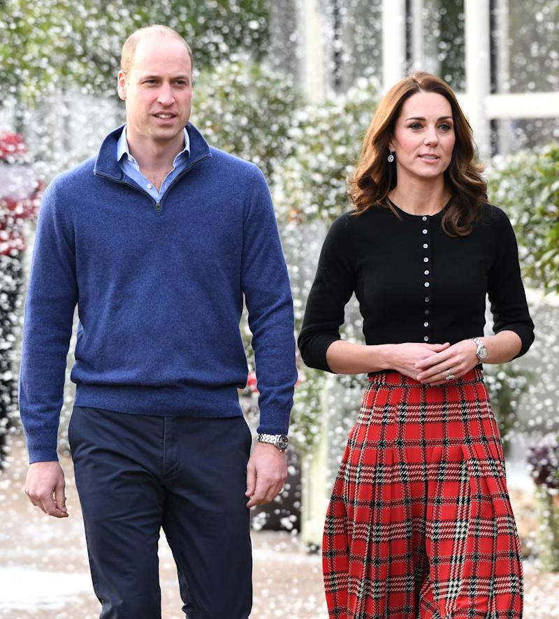 Prince William, Duke of Cambridge and Catherine, Duchess of Cambridge host a Christmas party to deliver a message of support to deployed personnel serving in Cyprus and their families over the festive period, at Kensington Palace on December 04, 2018 in London, England. Approximately 7,500 military personnel are currently serving overseas at Christmas.