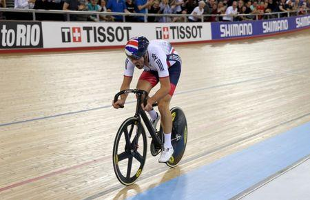 File photo: UCI World Track Cycling Championships - London, Britain - 4/3/2016 - Jonathan Dibben of Britain celebrates winning the men's points race on the final sprint. REUTERS/Matthew Childs