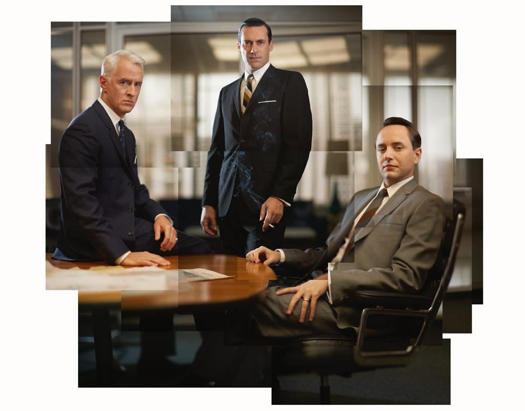 """John Slattery as Roger Sterling, Jon Hamm as Don Draper, and Vincent Kartheiser as Pete Campbell in """"<a target=""""_blank"""" href=""""http://tv.yahoo.com/mad-men/show/39828"""">Mad Men</a>."""""""