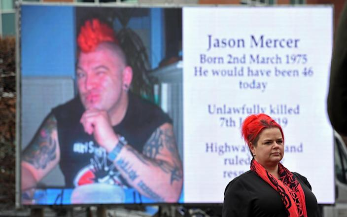 Claire Mercer marks what would have been her husband Jason's 46th birthday by placing a giant screen outside South Yorkshire Police's HQ in Sheffield - Asadour Guzelian/Guzelian Ltd