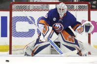 FILE - In this April 26, 2019 file photo New York Islanders goaltender Robin Lehner, of Sweden, defends his net against the Carolina Hurricanes during the second period of Game 1 of an NHL hockey second-round playoff series in New York. Lehner agreed to a free-agent deal Monday, July 1, 2019 continuing an active summer for the Chicago Blackhawks after it missed the playoffs for the second straight year. Lehner got a $5 million, one-year contract after he earned a career-high 25 wins last season with the New York Islanders. (AP Photo/Julio Cortez)