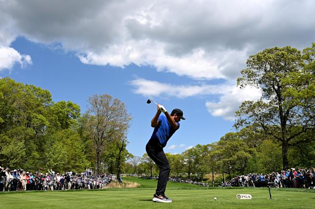 Jason Day of Australia plays a shot from the second tee during the first round of the 2019 PGA Championship at the Bethpage Black course on May 16, 2019 in Farmingdale, New York. (Photo by Stuart Franklin/Getty Images)
