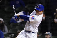 Chicago Cubs' Anthony Rizzo hits the game-winning single against the Los Angeles Dodgers during the 11th inning of a baseball game in Chicago, Wednesday, May 5, 2021. The Chicago Cubs won 6-5. (AP Photo/Nam Y. Huh)