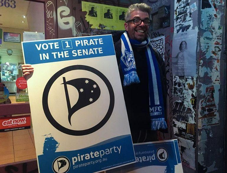 A supporter of the Pirate Party. Source: Facebook/ Pirate Party
