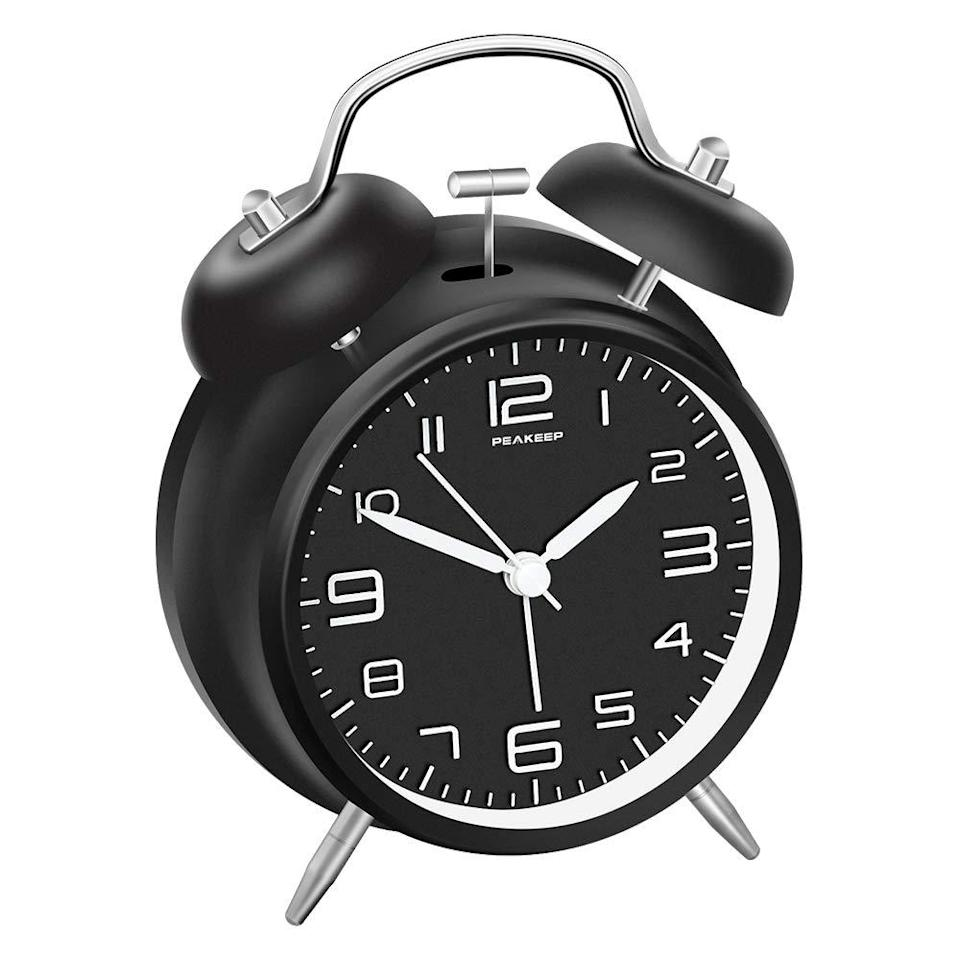 peakeep dual bell alarm clock on a white background