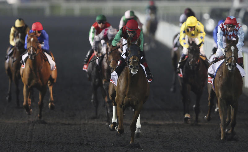Animal Kingdom of U.S. ridden by Joel Rosario, center, crosses the finish line to win the US dollars 6,000,000 (4,679,275 euro) 1st place prize of Dubai World Cup at Meydan racecourse in Dubai, United Arab Emirates, Saturday, March 30, 2013. (AP Photo/Kamran Jebreili)