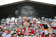 Marcus Rashford mural covered with messages of support after it was defaced following the Euro 2020 Final between Italy and England