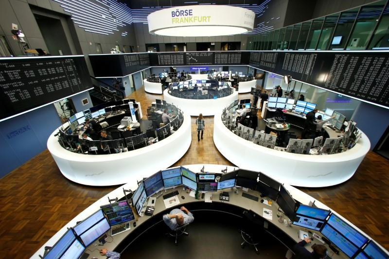 European shares climb to 14-month high on positive surveys, HSBC slumps