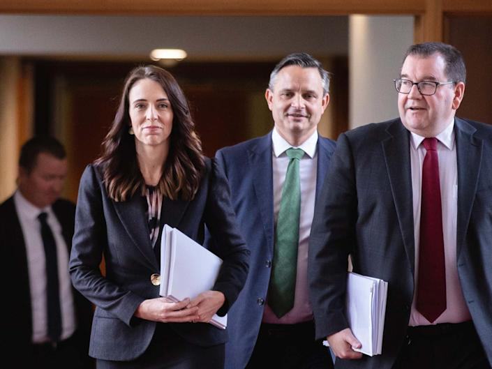 Prime Minister Jacinda Ardern, Greens leader James Shaw and Finance Minister Grant Robertson: Getty Images