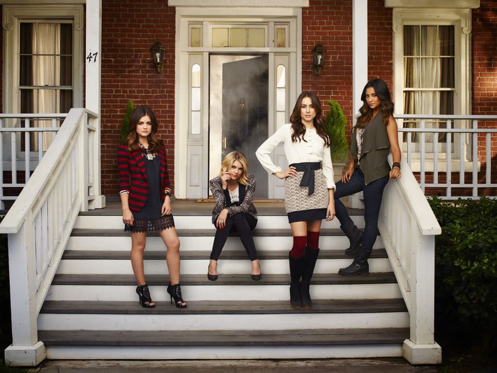"ABC Family's ""Pretty Little Liars"" stars Lucy Hale as Aria Montgomery, Ashley Benson as Hanna Marin, Troian Bellisario as Spencer Hastings and Shay Mitchell as Emily Fields."