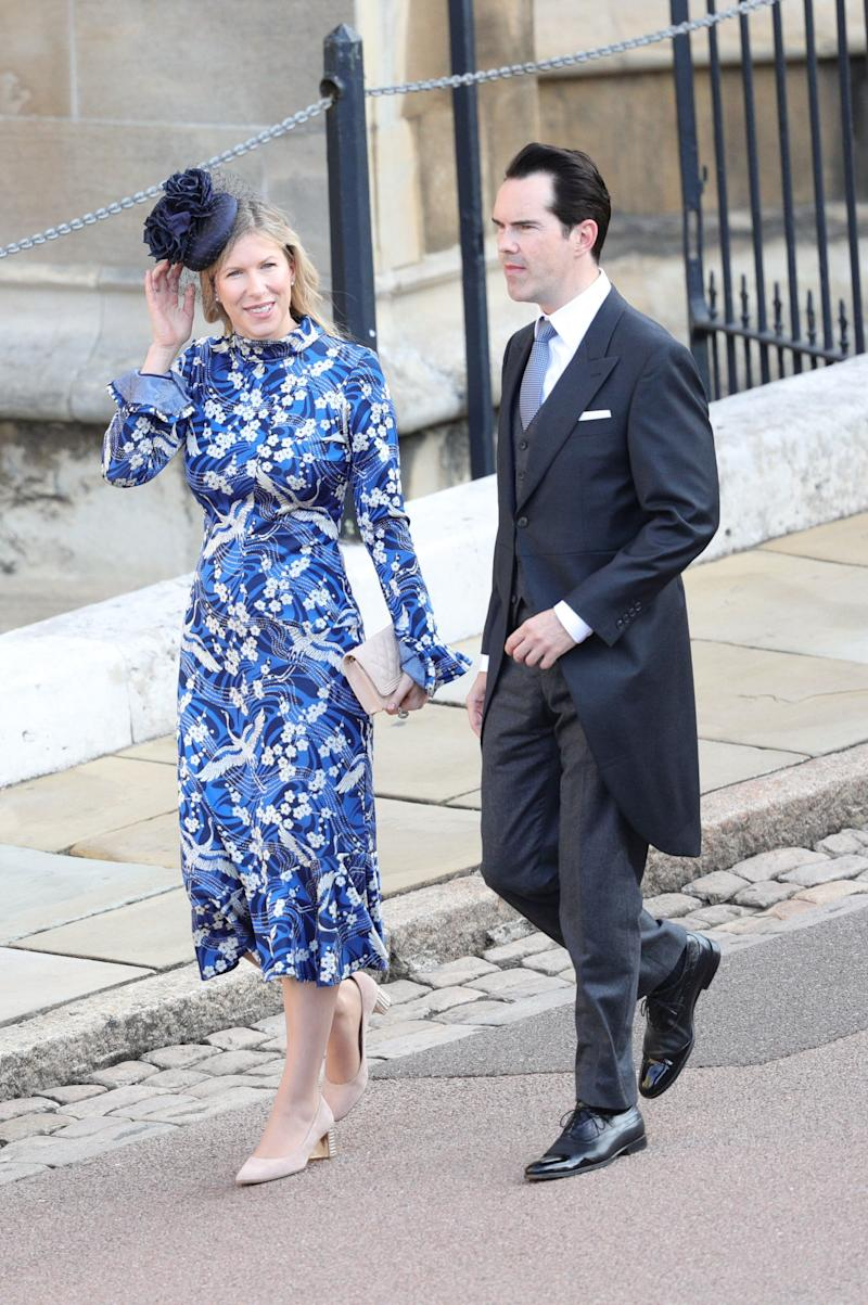 Karoline Copping and Jimmy Carr arrive for the wedding of Princess Eugenie of York and Mr. Jack Brooksbank at St. George's Chapel on October 12, 2018, in Windsor, England.