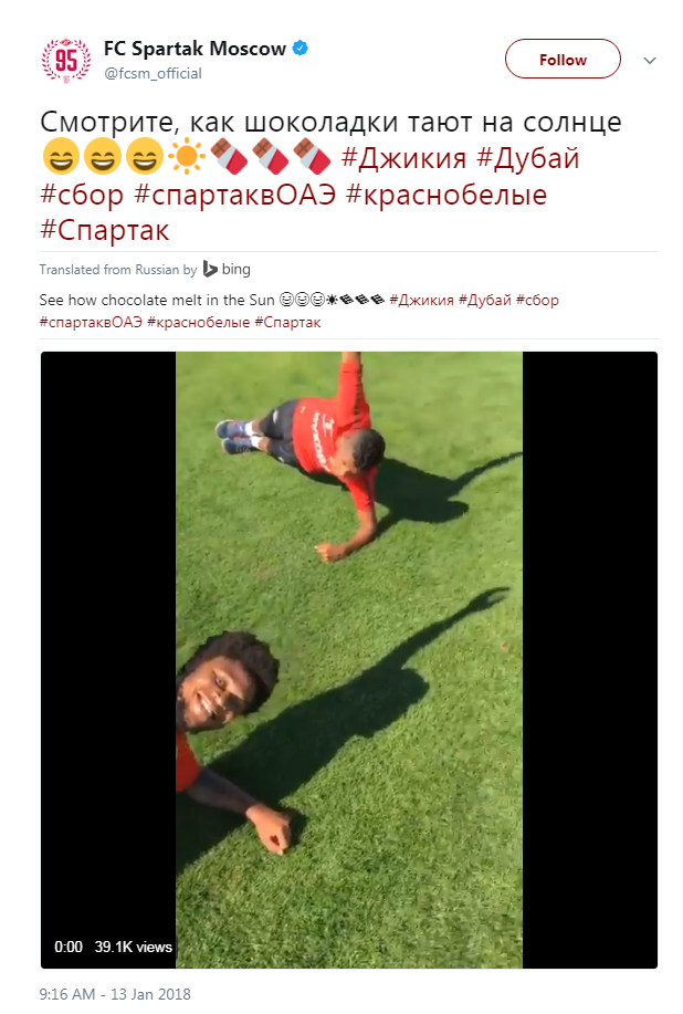 Spartak Moscow accused of racism against their own player after 'see how chocolate melts in the sun' tweet
