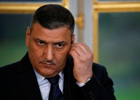Riad Hijab, chief coordinator of the Syrian opposition's High Negotiations Committee (HNC), attends a joint statement following their meeting at the Elysee Palace in Paris
