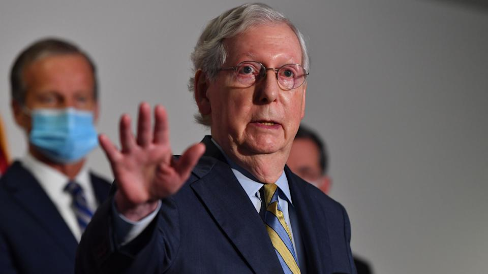 US Senate Majority Leader Mitch McConnell (R-KY) speaks at a press conference at the US Capitol on September 22, 2020 in Washington, DC, as McConnell said in a statement that the Senate would take up President Donald Trumps nominee for the Supreme Court following the death of Justice Ruth Bader Ginsburg. (Nicholas Kamm/AFP via Getty Images)
