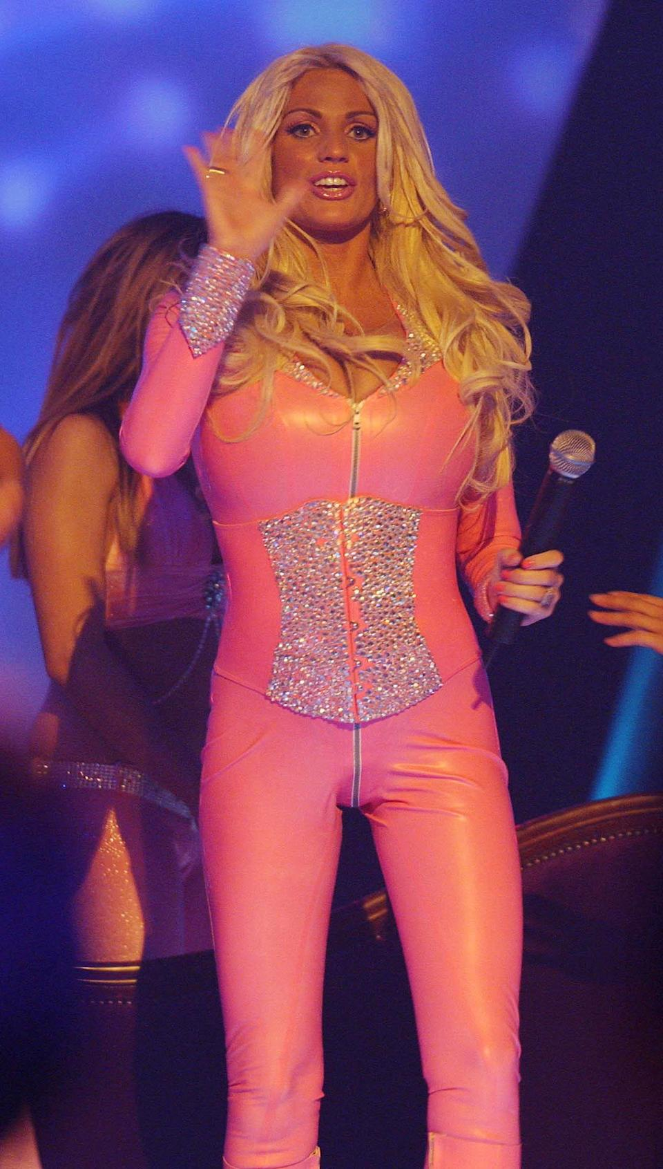 Pregnant Katie Price (Jordan) performs onstage.   (Photo by Yui Mok - PA Images/PA Images via Getty Images)