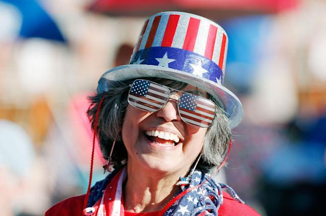 <p>Maryann Rollings, of Bolton, Mass., wears patriotic gear before rehearsal for the annual Boston Pops Fireworks Spectacular on the Esplanade, Monday, July 3, 2017, in Boston, Mass. (Photo: Michael Dwyer/AP) </p>