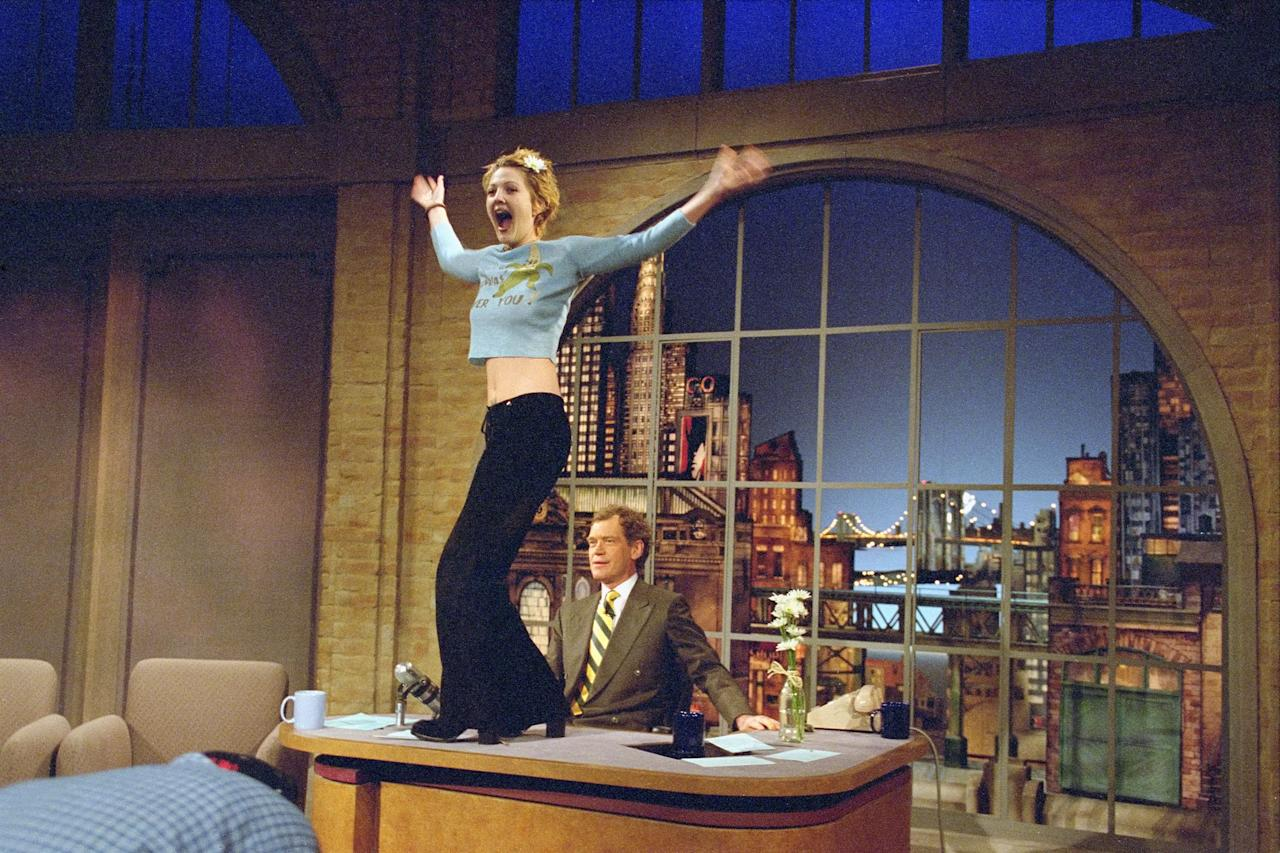 The Late Show With David Letterman, featuring Drew Barrymore on desk and David Letterman