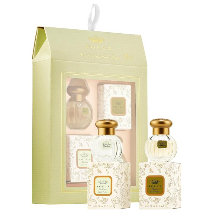 """<h2>Tocca Florence & Giulietta Mini Replica Duo Set</h2><br>This mini Tocca set is proof that affordable can still be luxe. It comes with two purse-sized bottles of the popular scents that'll upgrade any beauty vanity.<br><br><strong>Tocca</strong> Florence & Giulietta Mini Replica Duo Set, $, available at <a href=""""https://go.skimresources.com/?id=30283X879131&url=https%3A%2F%2Fwww.sephora.com%2Fproduct%2Ftocca-florence-giulietta-mini-replica-duo-set-P454364%3FskuId%3D2317675%26icid2%3Dproducts%2520grid%3Ap454364%3Aproduct"""" rel=""""nofollow noopener"""" target=""""_blank"""" data-ylk=""""slk:Sephora"""" class=""""link rapid-noclick-resp"""">Sephora</a>"""