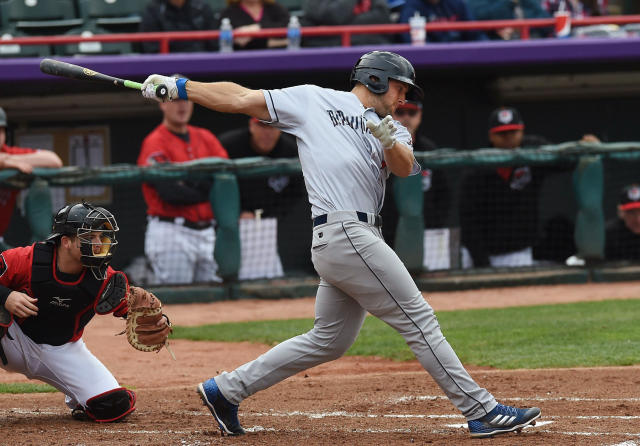 Tim Tebow, playing for the Binghamton Rumble Ponies, strikes out against the Erie SeaWolves during a Class AA baseball game Friday, April 27, 2018, in Erie, Pa. (AP)