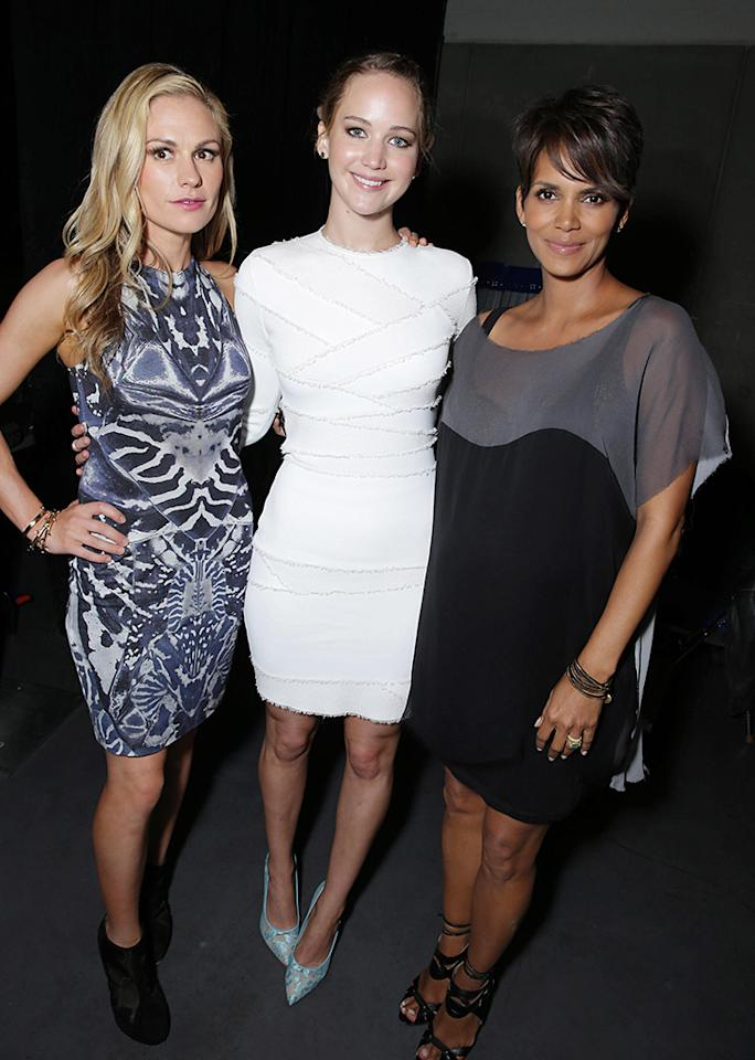 Anna Paquin, Jennifer Lawrence and Halle Berry seen at the 20th Century Fox Presentation at 2013 Comic-Con, on Saturday, July, 20, 2013 in San Diego, Calif. (Photo by Eric Charbonneau/Invision for 20th Century Fox/AP Images)