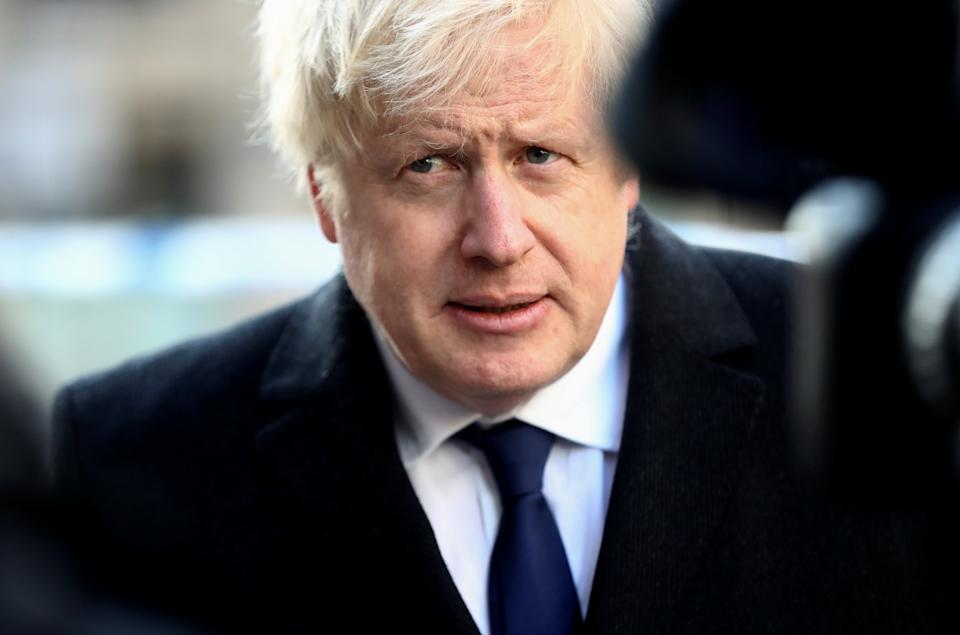 Britain's Prime Minister Boris Johnson speaks to the media at the scene of a stabbing on London Bridge, in which two people were killed, in London, Britain, November 30, 2019. REUTERS/Simon Dawson/Pool