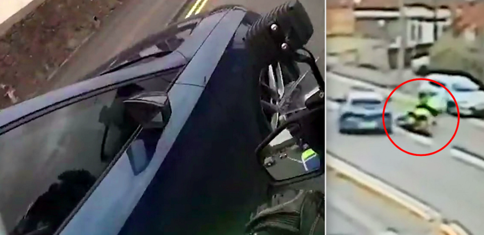 Footage shows Callum Fellows deliberately knocking PC Steve Lovering off his police motorbike. (SWNS)
