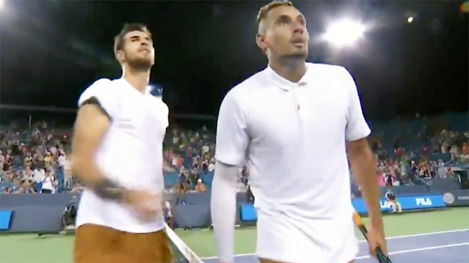 Nick Kyrgios spat in the direction of the umpire after the match. Image: ESPN