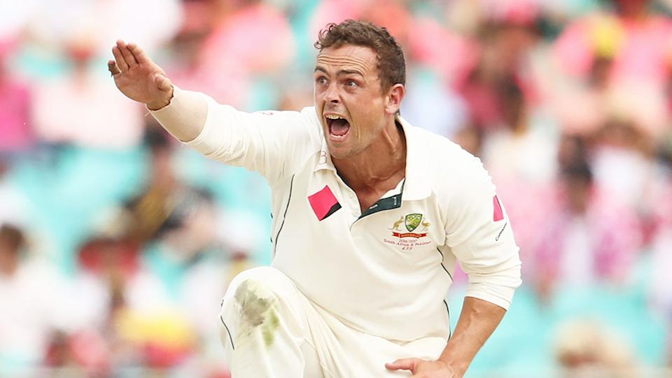 Steven O'Keefe has the greatest match figures of any overseas bowler for a Test match in India. Pic: Getty