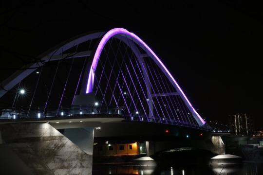 <p>Of course the steel tied-arch bridge, which goes over the Mississippi River in Prince's hometown of Minneapolis, Minnesota, got its purple on. <i>(Photo: Twitter)</i></p>