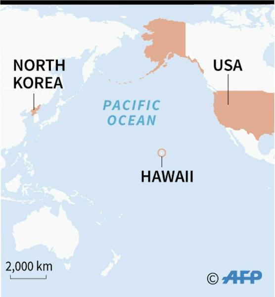 Map locating Hawaii, the US and North Korea following a false alarm about an incoming missile