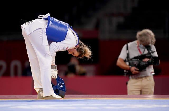 Great Britain's Jade Jones in the ae of her defeat by Refugee Olympic Team's Kimia Alizadeh Zonoozi in Tokyo