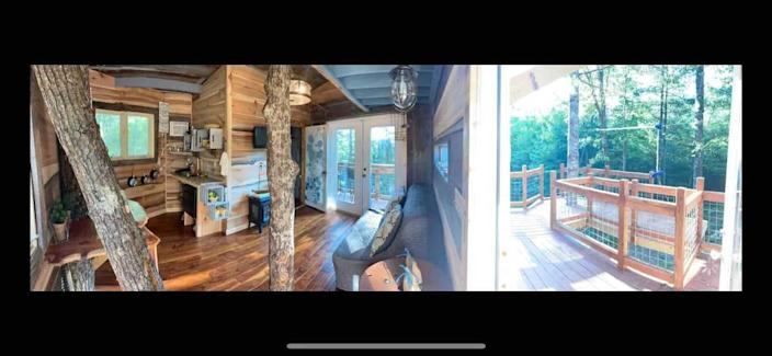 Inside look of the treehouse.
