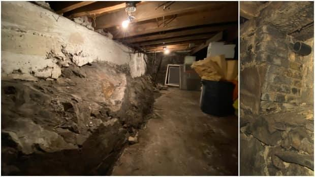 The basement beneath the basement. Signal Hill bedrock is seen protruding through the wall in the photo on the left. The other three walls look like the rock in the photo on the right. Hanlon can't find an entrance to a tunnel.