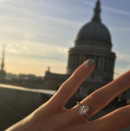 <p>Pixie Lott shared the news of her engagement to Oliver Cheshire via her Instagram account in November 2016. The singer was proposed to with an oval-shaped diamond, sat on a band of smaller diamonds. <em>[Photo: Instagram/Pixie Lott]</em> </p>