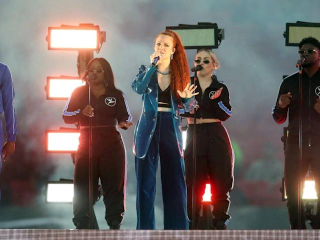 Singer Jess Glynne performs prior to kick-off during the International Series NFL match at Wembley (PA)