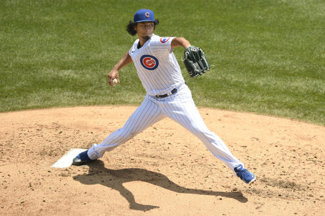 Chicago Cubs starter Yu Darvish delivers a pitch during the second inning of a baseball game against the Milwaukee Brewers Saturday, July 25, 2020, in Chicago. (AP Photo/Paul Beaty)
