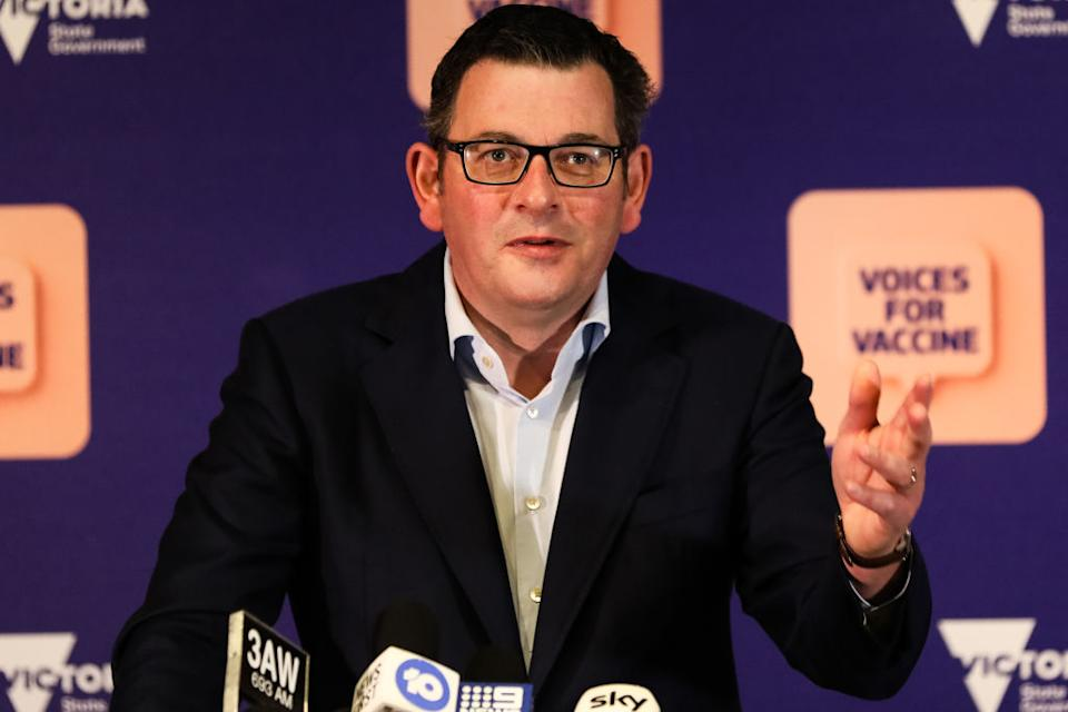 Victorian Premier Daniel Andrews gestures as he Gives COVID-19 Update As Further Lockdown Restrictions Are Imposed