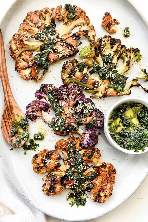 "<strong>Get the <a href=""http://www.foodiecrush.com/grilled-cauliflower-steaks/"" target=""_blank"">Grilled Teriyaki Cauliflower Steaks with Asian Gremolata recipe</a> from Foodie Crush</strong>"